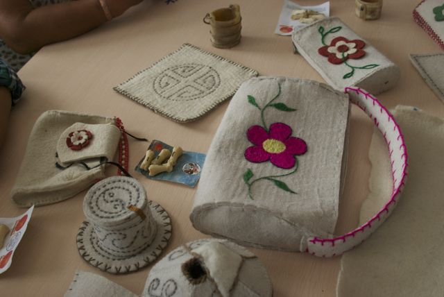 Felt items made by the collective this year