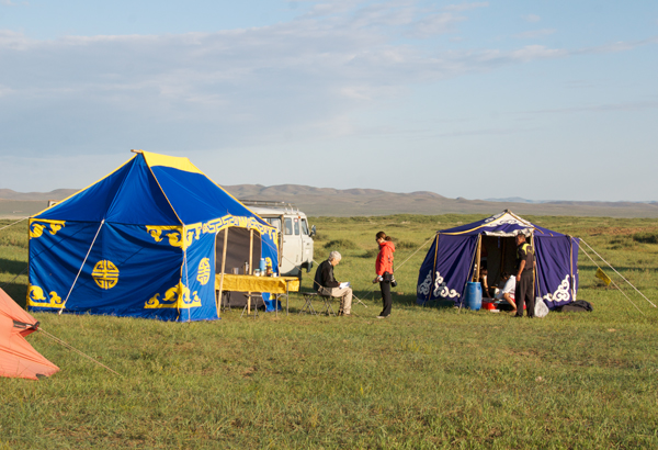 Camp Central at Arburd Sands, cook tent on the right, dining tent on the left