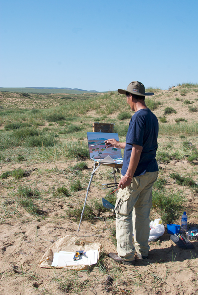 Magvandorj working on a landscape