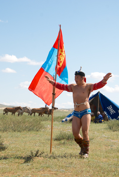 Then it was time for the wrestling, Mongol bokh. He's doing the traditional Eagle Dance before a bout.