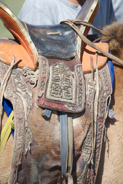 The local people had started to arrive, many on their horse. Here's an example of Mongol leatherwork.