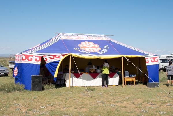 The centerpiece of the naadam site....a big maikhan (summer tent)