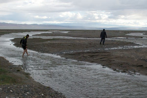 A lot of rain in the Hangai Mountains had poured down into the Gobi creating temporary rivers and streams. This was between us and the lake.