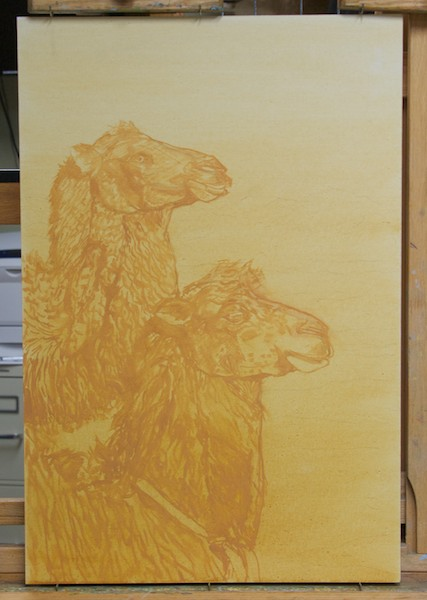 The brush drawing of the camels.