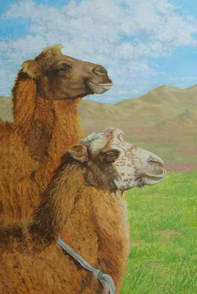 I largely finished the camels in one long sitting, but still went back and tweaked the heads a couple of times. I've now added clouds to the sky. I had originally planned to leave the sky just blue, but it didn't feel right.