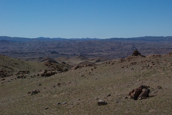 The view on the other side. A boundary sign told us that we were entering the Great Gobi B Strictly Protected Area. So there it was ahead of me, a place I'd been wanting to see for years.