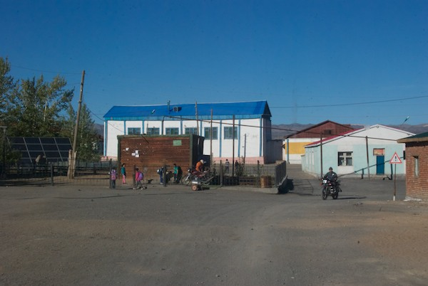 We drove into Darvi to get petrol and water. Notice the solar panel on the left.