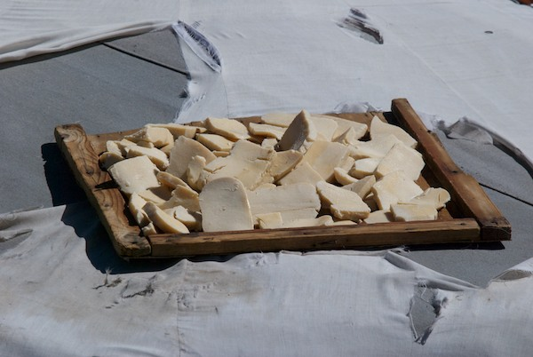 Something you see all over the Mongolian countryside in the summer....aruul/dried curds or yogurt drying on the roof of the ger.