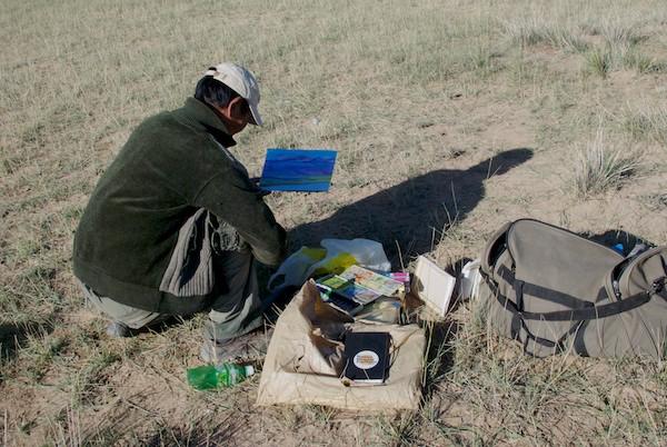 Magvandorj paints on location