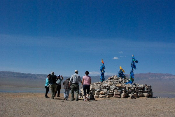 To get an overview of the area, Batsaikhan took us up to this high point which had a large ovoo.