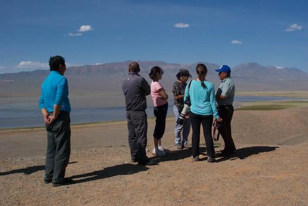 Batsaikhan briefs the group on saiga conservation.
