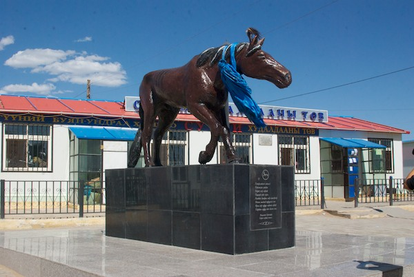 A statue of a famous race horse. The Darvi and Sharga areas of Mongolia are famous for their horses.