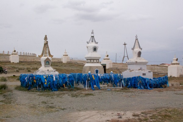 Stupas and khadag near the temple.