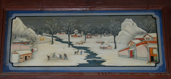 Wall painting of the monastery in the winter. This one was everyone's favorite, including me.