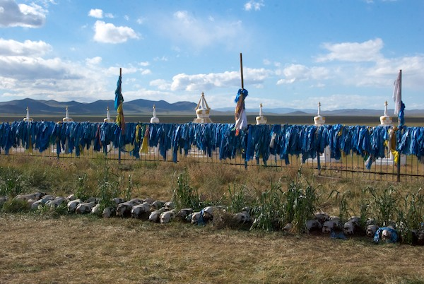 """Behind the """"temple"""" was this extraordinary sight- a fence utterly covered with khadag and, on the ground, hundreds of horses skulls. On the plain in the background is where we had camped."""