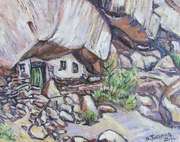 Painting of lama's retreat by Tugsoyun Sodnom