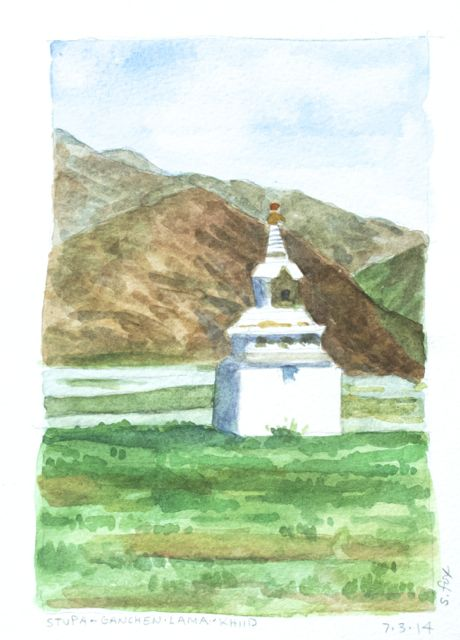 Stupa above river valley at Ganchen Lama Khiid, Erdenesogt