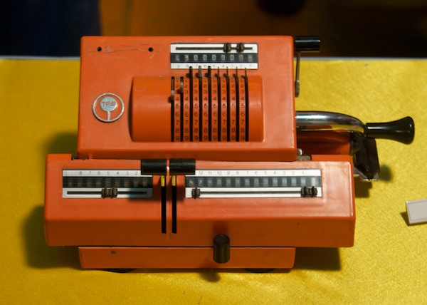As a contrast....this old mechanical adding machine.