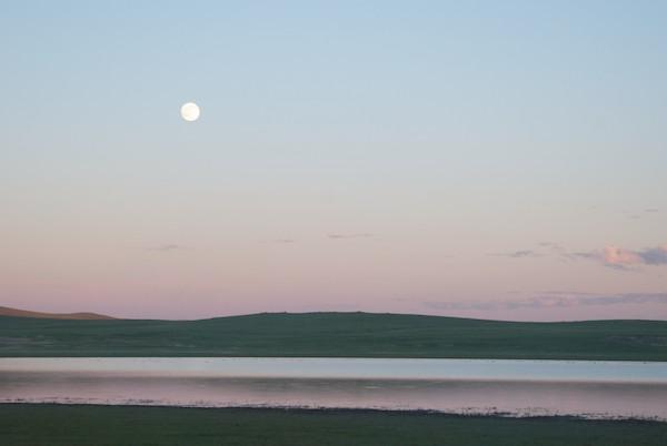Full moon sunset over Binder Nuur.