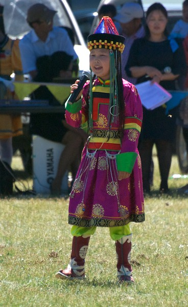 Young singer in Buryat clothes.