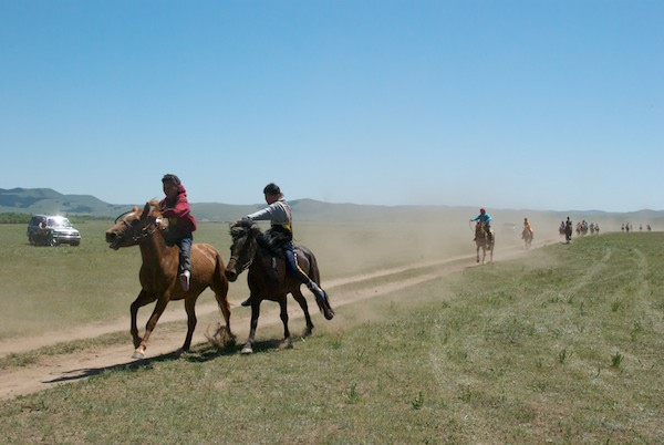 The finish of the horse race.