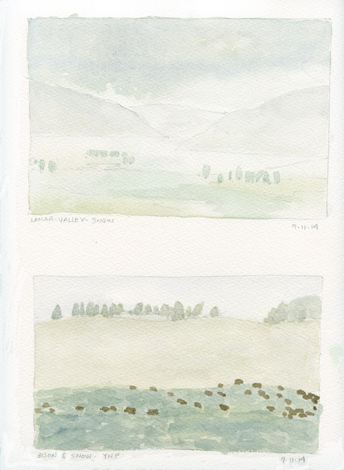Lamar Valley snow and bison; watercolor