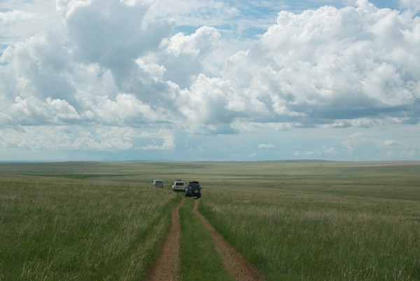 Off across the steppe...