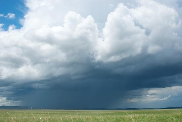 Rainstorm on the steppe.