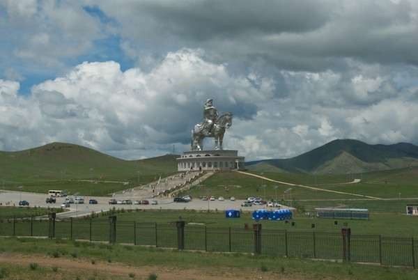 Full-circle back past the Chinggis Khan statue and on to Ulaanbaatar.