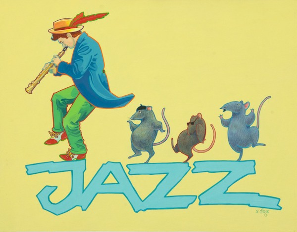 """Jazz""- Gouache on illustration board"