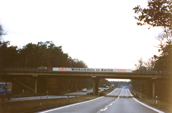 Entering Berlin on the east-west autobahn.