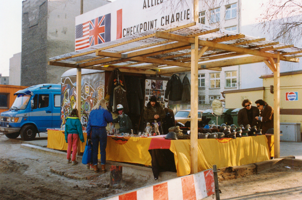 Checkpoint Charlie had been turned into a temporary souvenir shop.