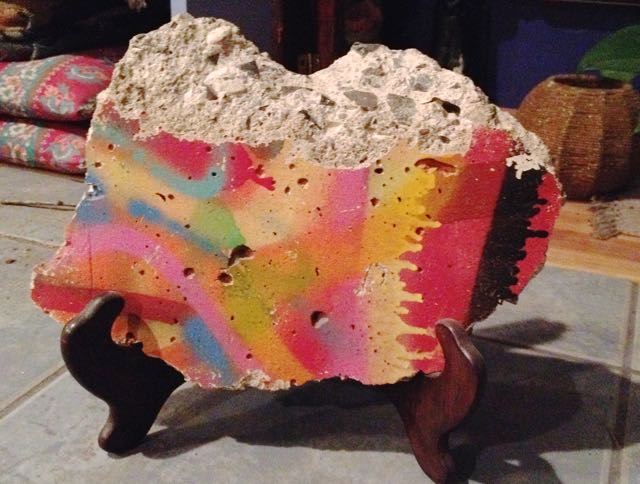 "Our piece of the Berlin Wall. It's about 10"" wide."