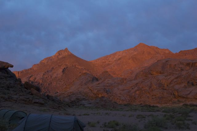 A week of rough travel and a little short on drinking water, but to crawl out one's tent to see this...