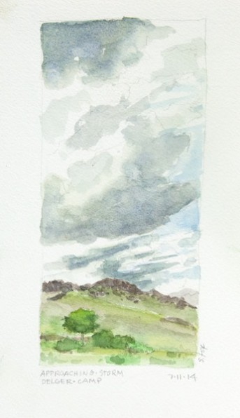 Clouds coming over camp, watercolor