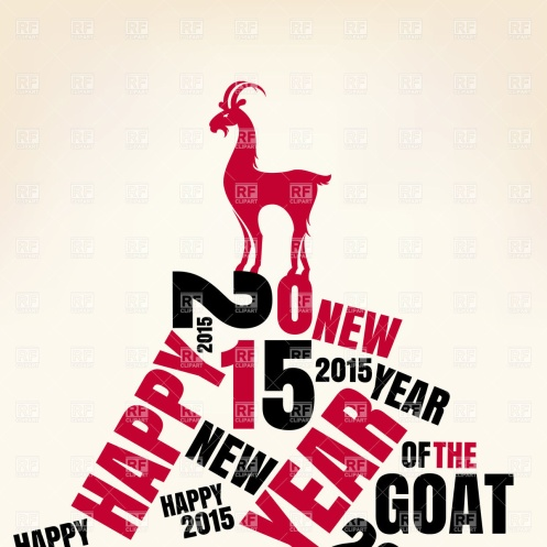 New year greeting card with goat