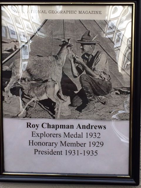 Roy Chapman Andrews' photo on the wall of those who have served as President of the Explorers Club