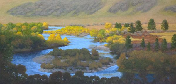 "Tuul Gol (Jalman Meadows, Mongolia)  oil  12x24"""
