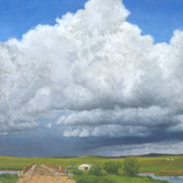 "Summer Storm, Mongolia  oil 12x12"""