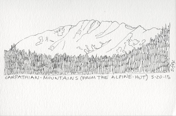 The third day we went on an eight hour hike high up into the mountains to what is called The Alpine Hut, which is where I did this sketch
