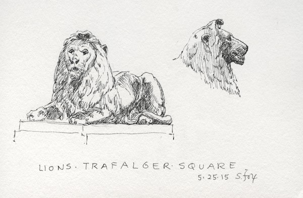 Sir Edward Landseer's lions at the base of the Nelson Column, Trafalgar Square