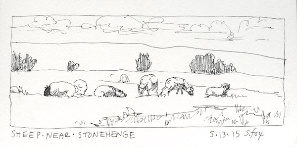 Sheep grazing near Stonehenge
