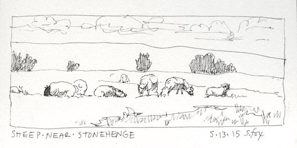 Sheep grazing near Stonehenge