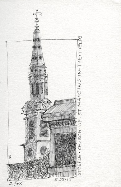The spire of St. Martins-in-the-Fields