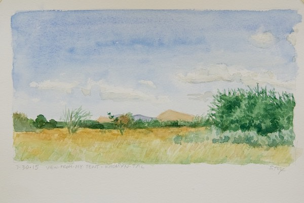 View from my tent- watercolor on cold press paper