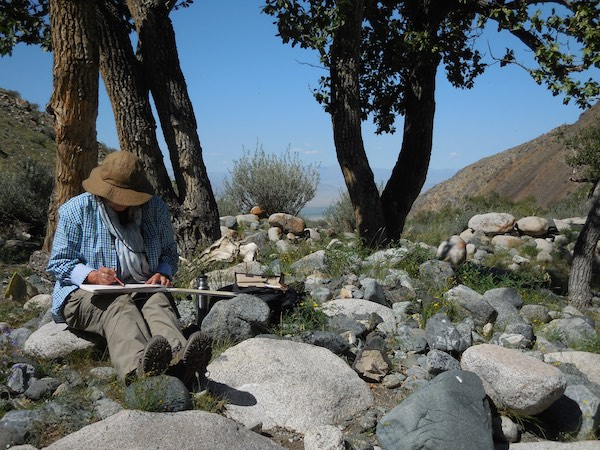 Sketching near our campsite on Jargalant Hairkhan Uul in Khar Us Nuur National Park