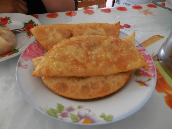 Khuushuur, which are fried mutton turnovers