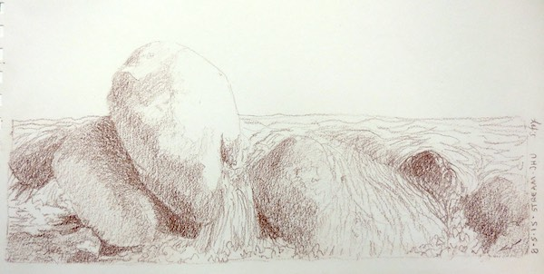 Rocks and stream- Derwent drawing pencil on paper