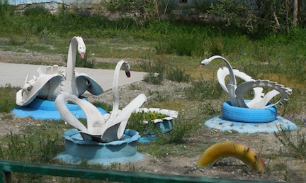 Playground swans made from old tires; Bayan-Ulgii, western Mongolia 2015