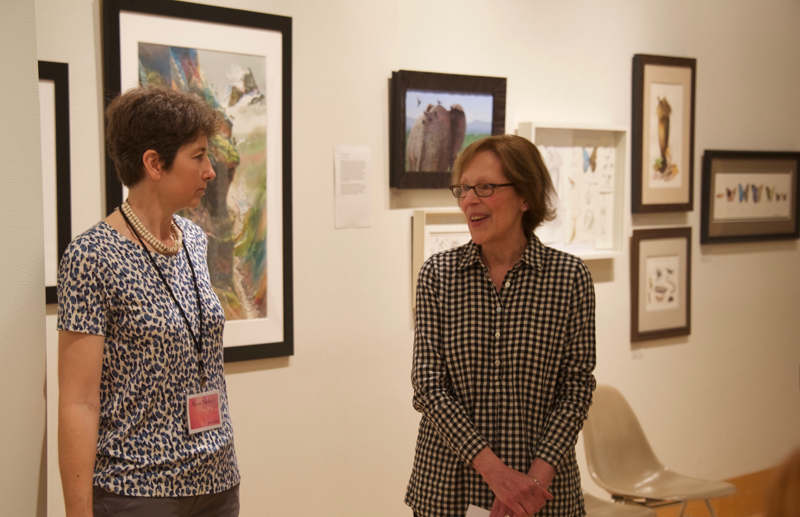 Curator Alice Sherwood (right) and Alison Nicholls